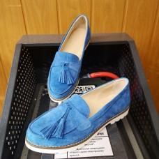 Лоферы женские голубые замшевые 0232