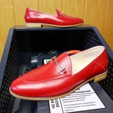 Лоферы женские красные кожаные 0235