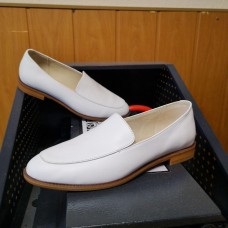 Лоферы женские белые кожаные 0236