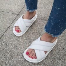 Шлепанцы женские белые кожаные 0237