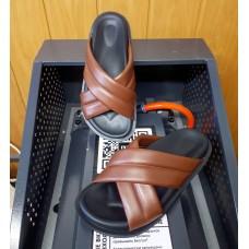 Шлепанцы женские коричневые кожаные 0239