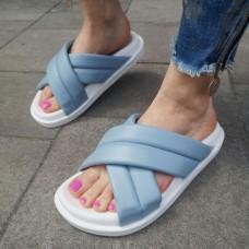 Шлепанцы женские голубые кожаные 0240