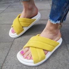Шлепанцы женские желтые замшевые 0242