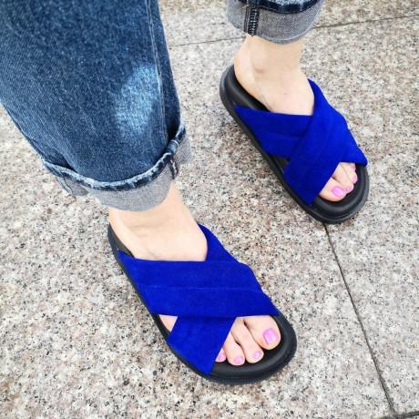 Шлепанцы женские синие замшевые 0243