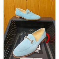 Лоферы женские голубые замшевые (образец) 0245