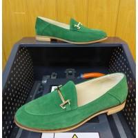 Лоферы женские зеленые замшевые (образец) 0246
