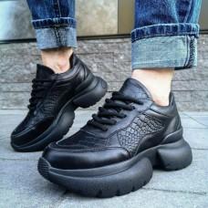 """Кроссовки женские черные кожаные со вставками """"Питон"""" 0247"""