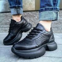 """Кроссовки женские черные кожаные со вставками """"Питон"""" (образец) 0247"""