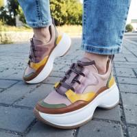 """Кроссовки женские кожаные с разноцветными вставками """"Радуга"""" (образец) 0248"""