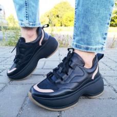Кроссовки женские черные кожаные с бежевыми вставками 0249
