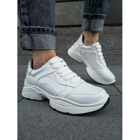 Кроссовки женские белые кожаные 0250