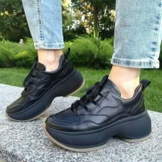 Кроссовки женские черные кожаные 0276