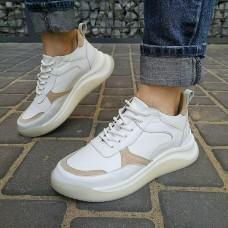 Кроссовки женские белые кожаные со вставками из замши 0280