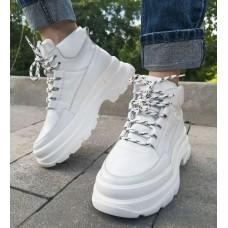 Кроссовки женские белые кожаные 0285