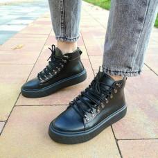 Кеды высокие женские черные кожаные 0286