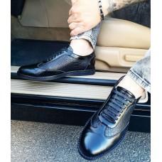 Туфли мужские черные кожаные со вставками 0288