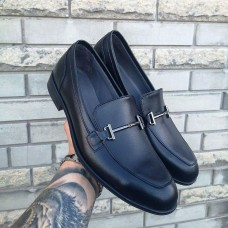 Лоферы мужские черные кожаные 0290