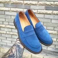 Лоферы мужские замшевые синие 0291