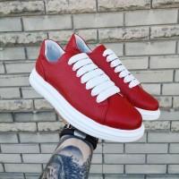 Кеды мужские  красные кожаные 0293