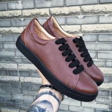 Кеды мужские коричневые кожаные 0295