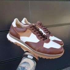 Кроссовки мужские коричневые кожаные со вставками 0296