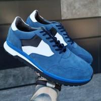 Кроссовки мужские синие замшевые со вставками 0297