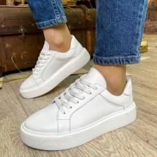 Кеды белые женские кожаные 0315