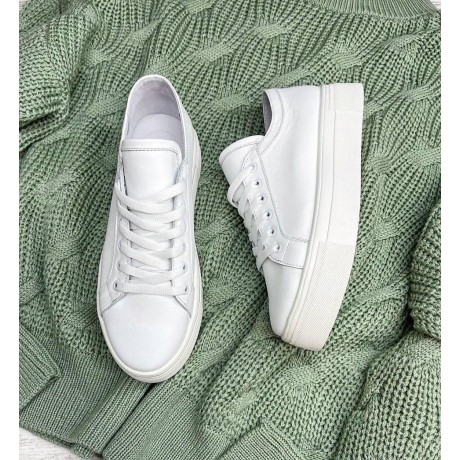 Кеды белые женские кожаные 0319