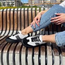 """Кеды белые женские кожаные c замшевыми вставками """"Черный"""" + """"Серый""""  0332 (образец)"""