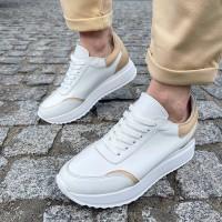 Кроссовки женские белые кожаные с бежевыми вставками 0336