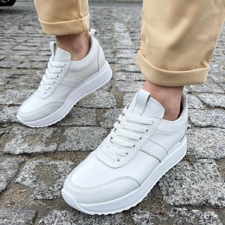 Кроссовки женские белые кожаные 0337