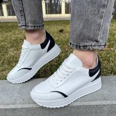 Кроссовки женские белые кожаные с черными вставками 0339 (образец)