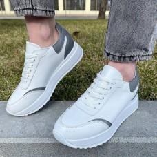 Кроссовки женские белые кожаные с серыми вставками 0340 (образец)