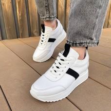 Кроссовки женские белые кожаные с черными замшевыми вставками 0343 (образец)