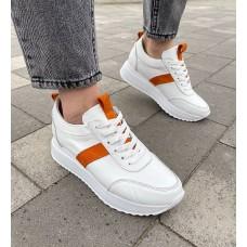 Кроссовки женские белые кожаные с оранжевыми замшевыми вставками 0344 (образец)