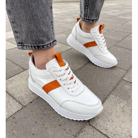 Кроссовки женские белые кожаные с оранжевыми замшевыми вставками 0344