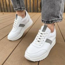 Кроссовки женские белые кожаные с серыми замшевыми вставками 0345 (образец)