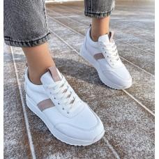 """Кроссовки женские белые кожаные с замшевыми вставками цвета """"Мокко"""" 0347 (образец)"""