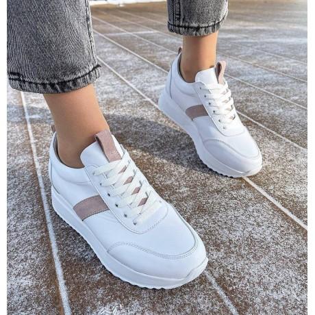 """Кроссовки женские белые кожаные с замшевыми вставками цвета """"Мокко"""" 0347"""