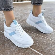 Кроссовки женские белые кожаные с голубыми замшевыми вставками 0348 (образец)