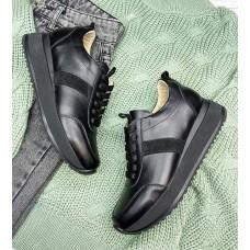 Кроссовки женские черные кожаные с замшевыми вставками 0349