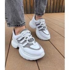 Кроссовки женские белые кожаные с серой замшевой вставкой 0353 (образец)
