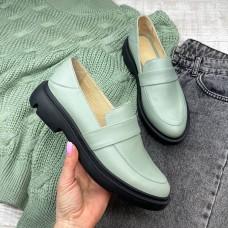 Лоферы женские оливковые кожаные  0362