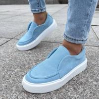 Лоферы женские голубые замшевые 0375