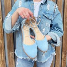 Босоножки женские голубые замшевые 0390 (образец)