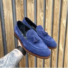 Лоферы мужские замшевые синие с кисточками 0396 (образец)