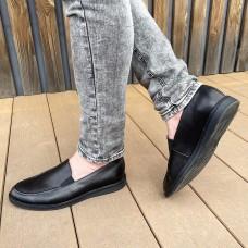 Лоферы мужские черные кожаные 0398 (образец)
