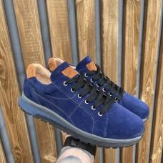 Кроссовки мужские синие замшевые со вставками 0399 (образец)