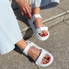 Босоножки женские белые кожаные на липучках 0417 (образец)
