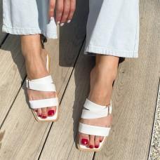 Шлепанцы женские белые кожаные 0422